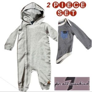 7 For All Mankind Hooded Jumpsuit & Onesie Bundle
